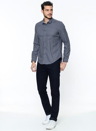 Uzun Kollu Kareli Gömlek-Koton